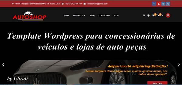 Template WordPress para concessionárias de veículos e lojas de auto peças